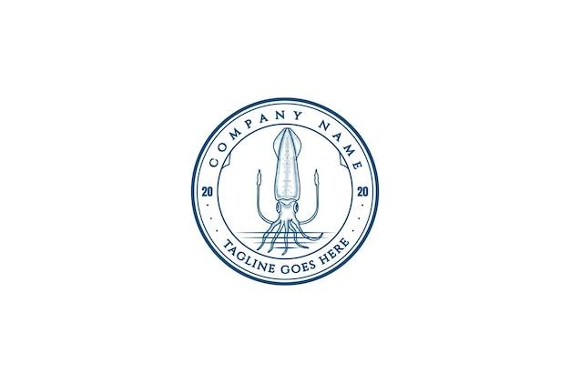 해산물 레스토랑 또는 제품 라벨 로고 디자인 벡터를 위한 빈티지 레트로 오징어 오징어 배지 엠블럼 스탬프