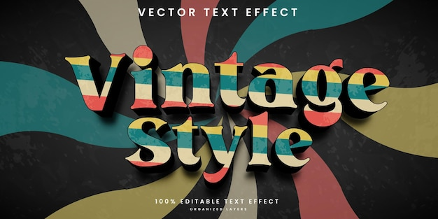 Vintage retro style editable text effect