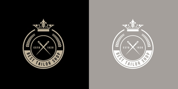 手作りのカスタムスーツテーラーアトリエや裁縫店のヴィンテージレトロスタイルラウンドモノグラムロゴバッジ手作りのテーラーアトリエや縫製ショップヴィンテージレトロスタイルのラウンドロゴバッジプレミアム