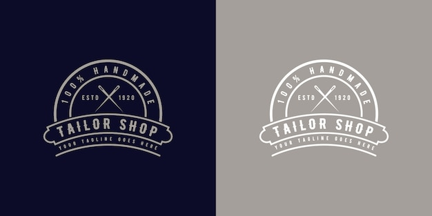 Vintage retro style round monogram logo badge for hand made custom suit tailor atelier or sewing shop vintage retro style round logo badge for handmade tailor atelier or sewing shop premium