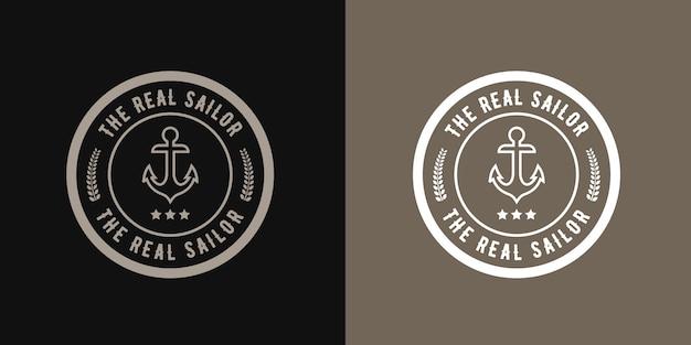 Vintage retro style round sailor logo  anchor , nautical retro hipster design with ship wheel  template