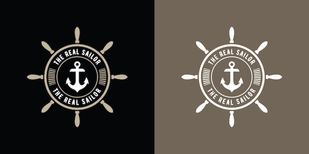 Урожай ретро стиль круглый логотип моряка якорь, морской дизайн ретро битник с шаблоном колеса корабля