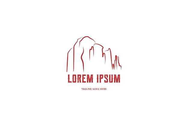 Урожай ретро восход красный каньон рок в седоне аризона дизайн логотипа вектор Premium векторы