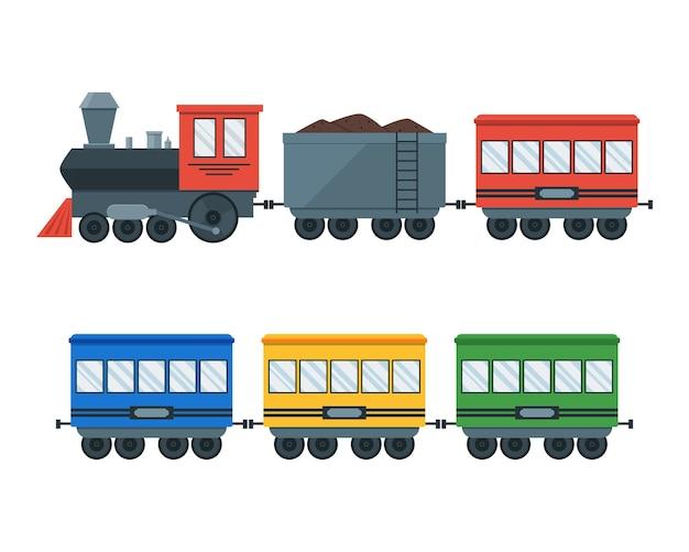 Винтажный ретро транспортный поезд.