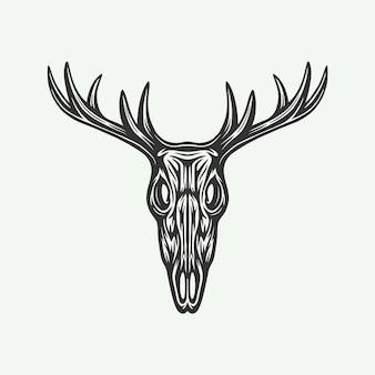 빈티지 복고 목판화 사냥 황소 두개골. 엠블럼, 로고, 배지, 라벨처럼 사용할 수 있습니다. 표시, 포스터 또는 인쇄. 흑백 그래픽 아트. 벡터 일러스트 레이 션.