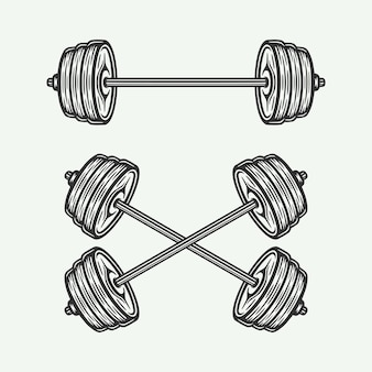 Vintage retro woodcut fitness gym barbell