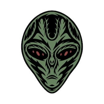 Vintage retro woodcut space galaxy alien can be used like emblem logo badge