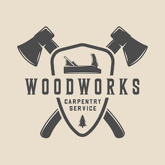 Vintage retro woodwork lumber carpentry emblem logo badge label or mark can be used like poster