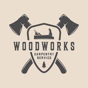 Винтажные ретро изделия из дерева, пиломатериалы, плотницкие работы, эмблема, логотип, значок, этикетка или знак, могут использоваться как плакат