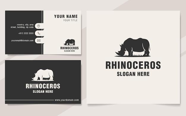 Vintage rhinoceros logo template monogram style
