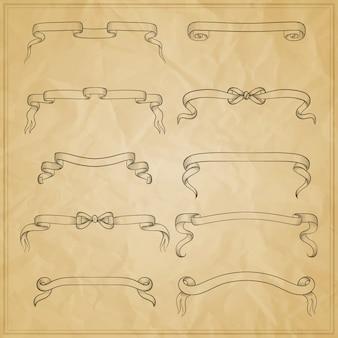 ビンテージリボン弓バナー、手描きセット。