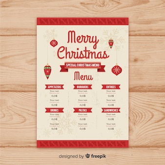 Vintage ribbon christmas menu template