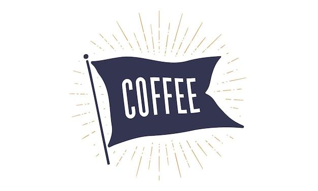 Старинный флаг ленты с иллюстрацией кофе