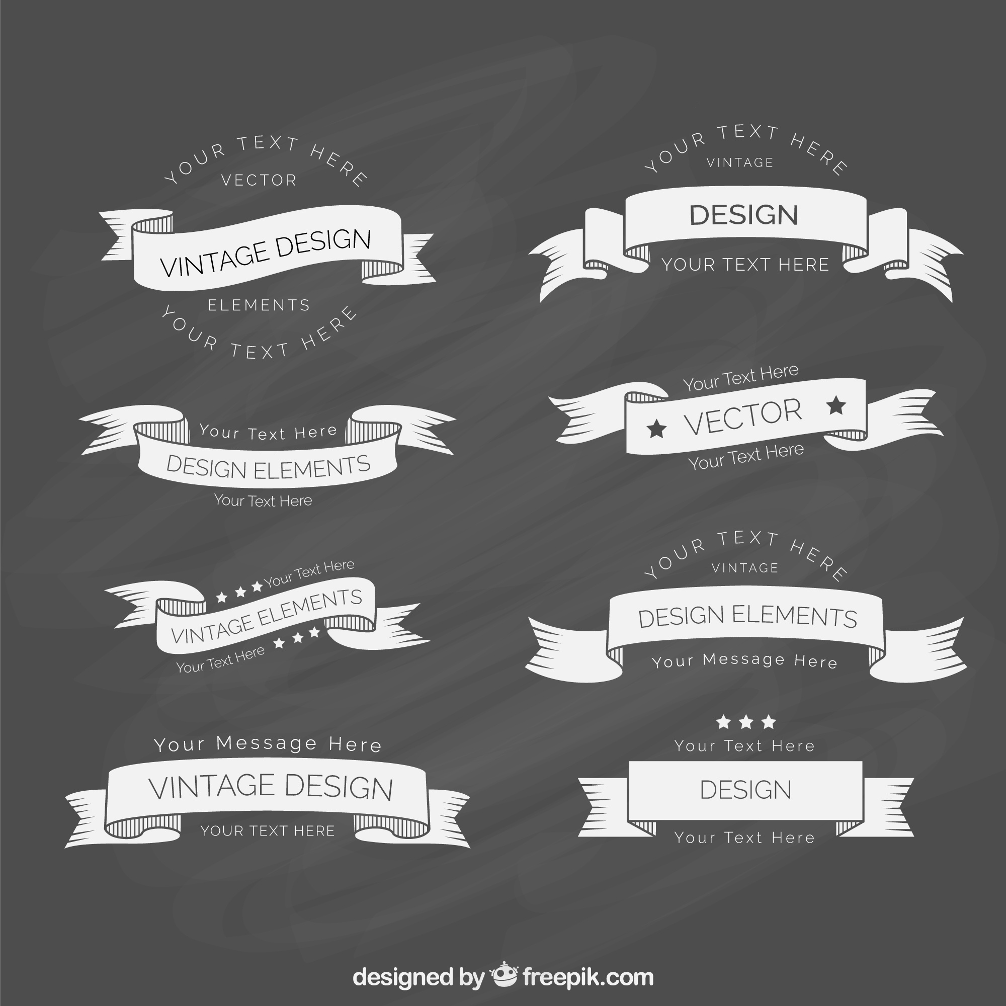 Vintage Ribbon Template Collection