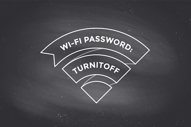 Vintage ribbon wi-fi sign for free wi-fi on chalkboard