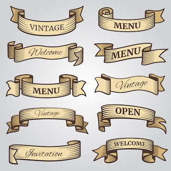Vintage ribbon with engraved shadows vector set
