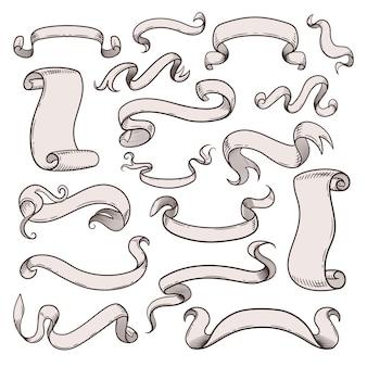 Старинные ленты, набор красивых декоративных элементов дизайна.