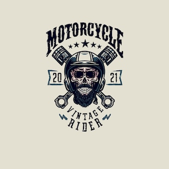 Vintage rider skull t shirt graphic design, hand drawn line style with digital color