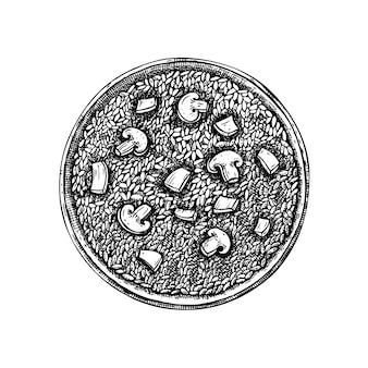 버섯 일러스트와 함께 빈티지 리조또입니다. 로고, 아이콘, 라벨, 포장에 대한 새겨진 스타일 리조또 그리기. 이탈리아 음식 요리 스케치.