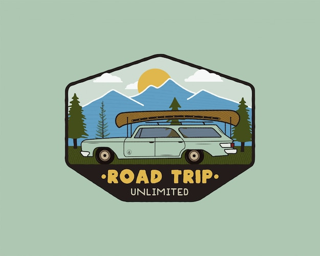 Vintage road trip travel logo