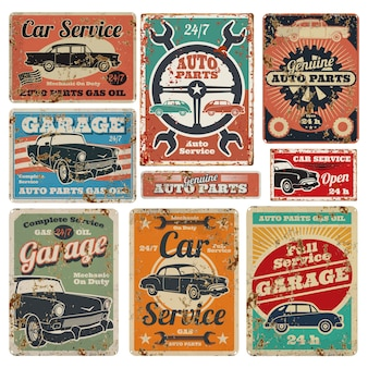 Vintage road vehicle repair service, garage and car mechanic advertising vector metal signs