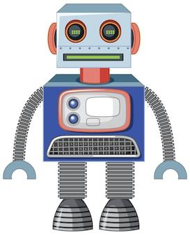 Vintage robot toy on white background