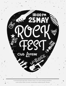 Vintage rock festival poster with rock and roll icons on grunge background. format