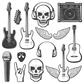 Vintage rock music elements set