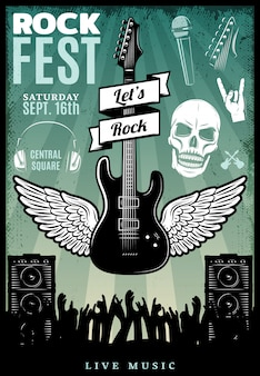 Vintage rock music fest template