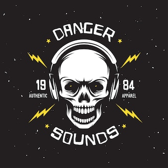 Vintage rock music related t-shirt graphics. danger sounds. authentic apparel
