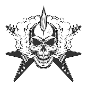 Vintage rock musician skull with mohawk