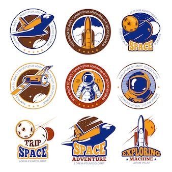 Vintage rock and roll music vector labels, emblems, badges, sticker with guitar and speaker silhouettes. rock music emblem, retro vintage rock and roll label illustration