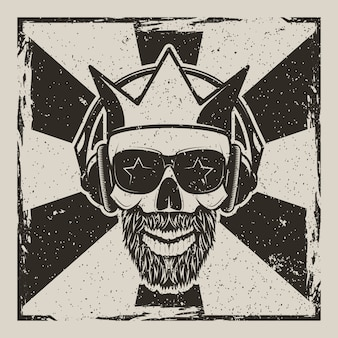 Vintage rock star vector grunge illustration