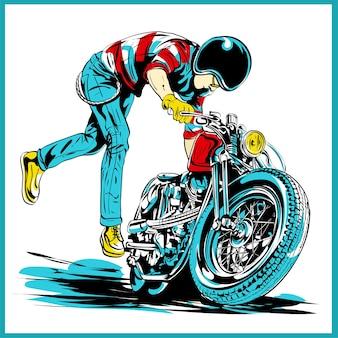 클래식 헬기 자전거를 타는 빈티지 로커 빌리 두개골