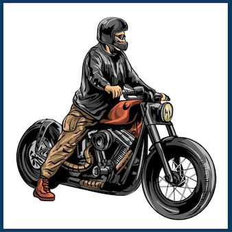 Vintage rockabilly skulls riding a classic chopper bike