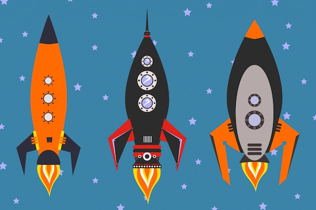 Vintage rockets vector set, flat design style