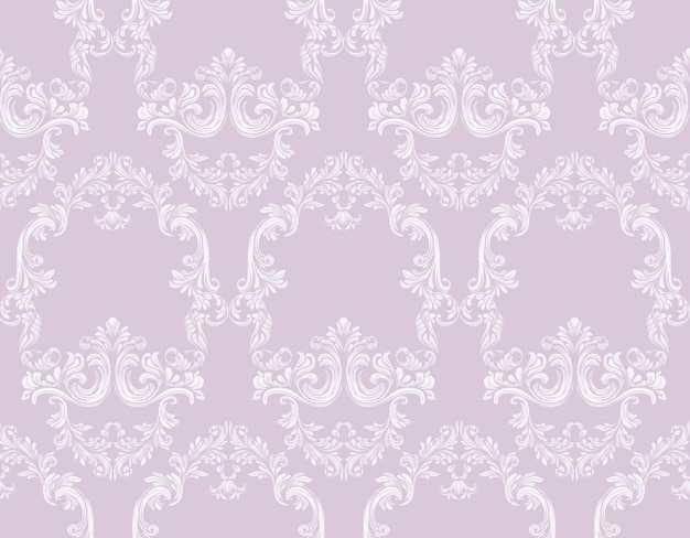 빈티지 로코코 패턴 배경 벡터 일러스트 핑크 색상