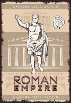 Vintage roman empire poster with inscription julius caesar coins on buildings of ancient rome civilization