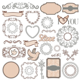 Vintage romantic elements collection with beautiful frames ornamental vignettes ribbons
