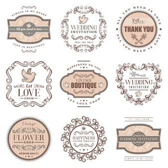 Vintage romantic labels set with wedding invitation love amorous inscriptions pigeon ornamental frames