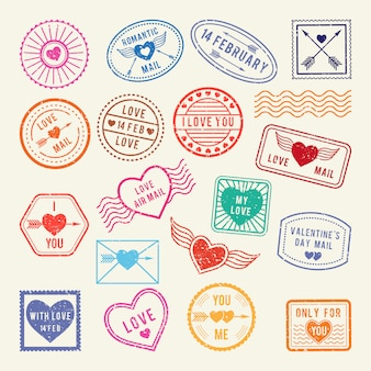 Vintage romantic postal stamps. vector love elements for scrapbook or letters design
