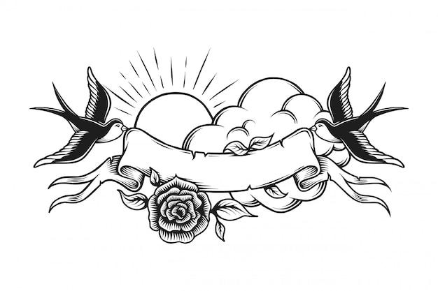 빈티지 로맨틱 문신 템플릿