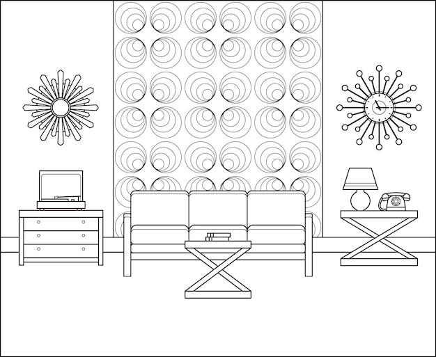 Vintage room interior in line art. linear vector illustration.