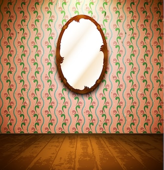 Vintage room with mirror and floral wallpaper