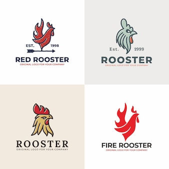 Vintage rooster logo collection