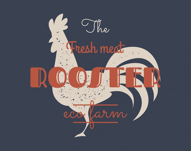 Vintage rooster logo for dairy and meat business, butcher shop, market.