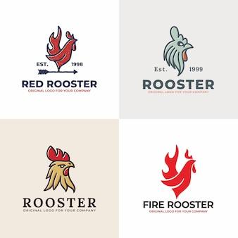 Коллекция логотипов vintage rooster