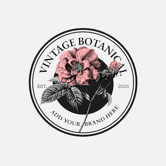 Vintage rose business badge vector for organic beauty brand