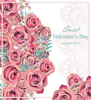 Vintage rose floral card, delicate lace details