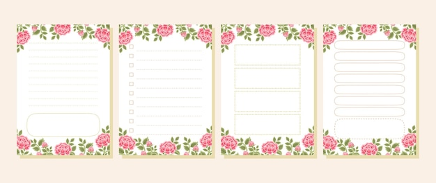 Vintage rose floral memo, notepad, to do list, daily planner collection